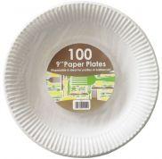 White Paper Plates 9in (22.5cm)